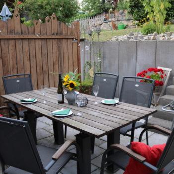 Terrasse mit Grillmöglichkeit und Blick auf den Ockfener Bockstein